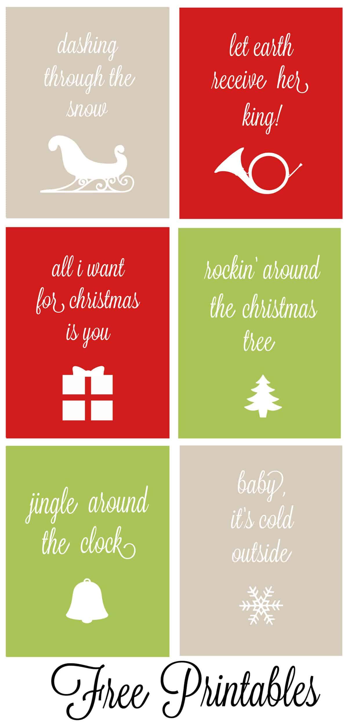 Set Of 6 Christmas Carol Free Printables