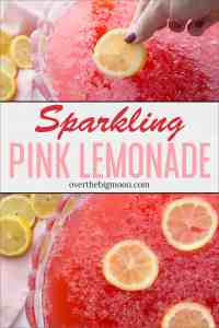 This delicious and sweet Pink Lemonade Sparkling Fruit Punch recipe is perfect for family gatherings, parties, baby showers and more! From overthebigmoon.com!