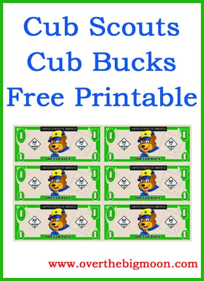 image about Cub Scout Printable titled Cub Buck Totally free Printable In excess of The Significant Moon