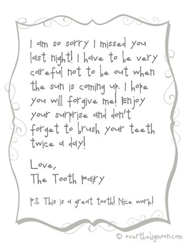 image about Free Printable Tooth Fairy Letters named Forgettful enamel fairy totally free printable take note