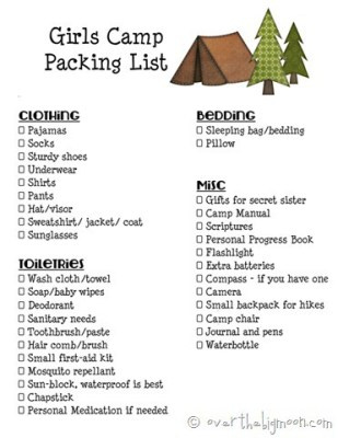 Girls Camp Printable Packing List and Leaders Must Haves for Camp