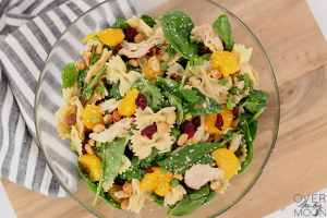 Bowtie and Spinach Chicken Salad with Teriyaki Vinaigrette