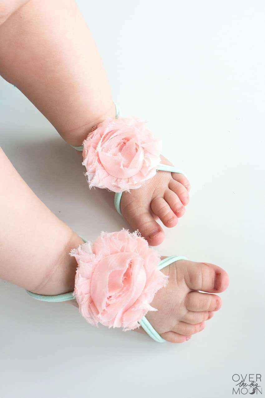 Baby Girl Shoes Options are hard to find - these Baby Barefoot Sandals are too cute and perfect for newborn feet! From overthebigmoon.com!