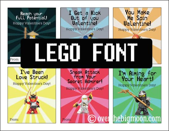 picture about Lego Font Printable called Ninjago Valentines Absolutely free Printable - About the Large Moon