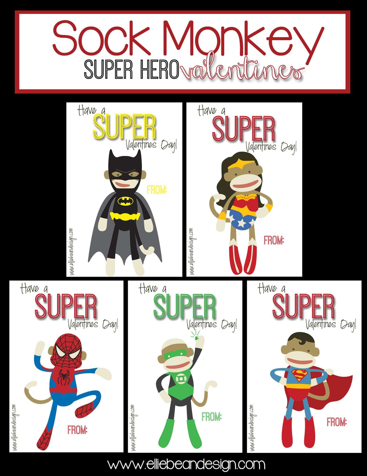 Lyndi From Ellie Bean Design Sock Monkey Super Hero Valentines