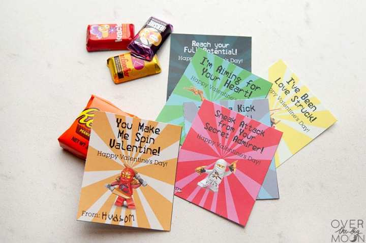 Assembled Ninjago Valentine's - print from overthebigmoon.com and attach to a candy or treat!