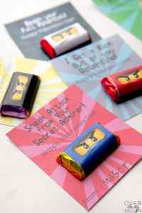 Easy Printable Ninjago Valetine's Printable with Mini Candy Bar Wrapper. Print from overthebigmoon.com