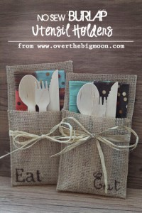 No Sew Burlap Utensil Holders + How to Host an Autumn ...
