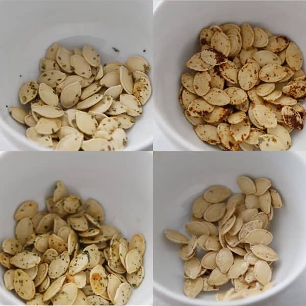 4 white bowls of pumpkin seeds all flavored differently.