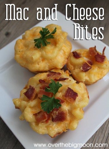 Yummy Mac N' Cheese Bites - the perfect appetizer or dinner idea! From overthebigmoon.com!