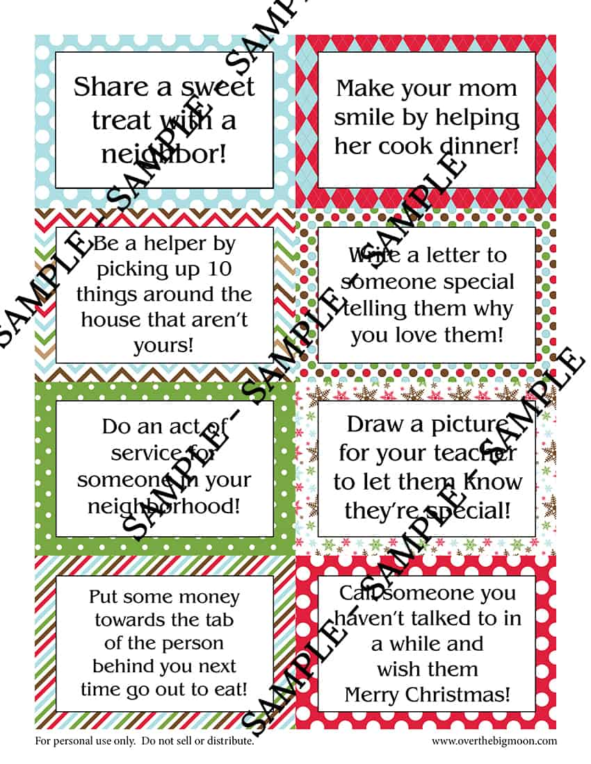 picture regarding Elf Pattern Printable named Elf upon the Shelf Printable Wonderful Deed Playing cards - In excess of the Substantial Moon