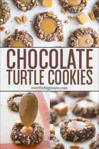 These Delicious Chocolate Turtle Cookies are seriously so good! The chocolate nut cookie with a soft caramel center makes for the perfect bite! From overthebigmoon.com!