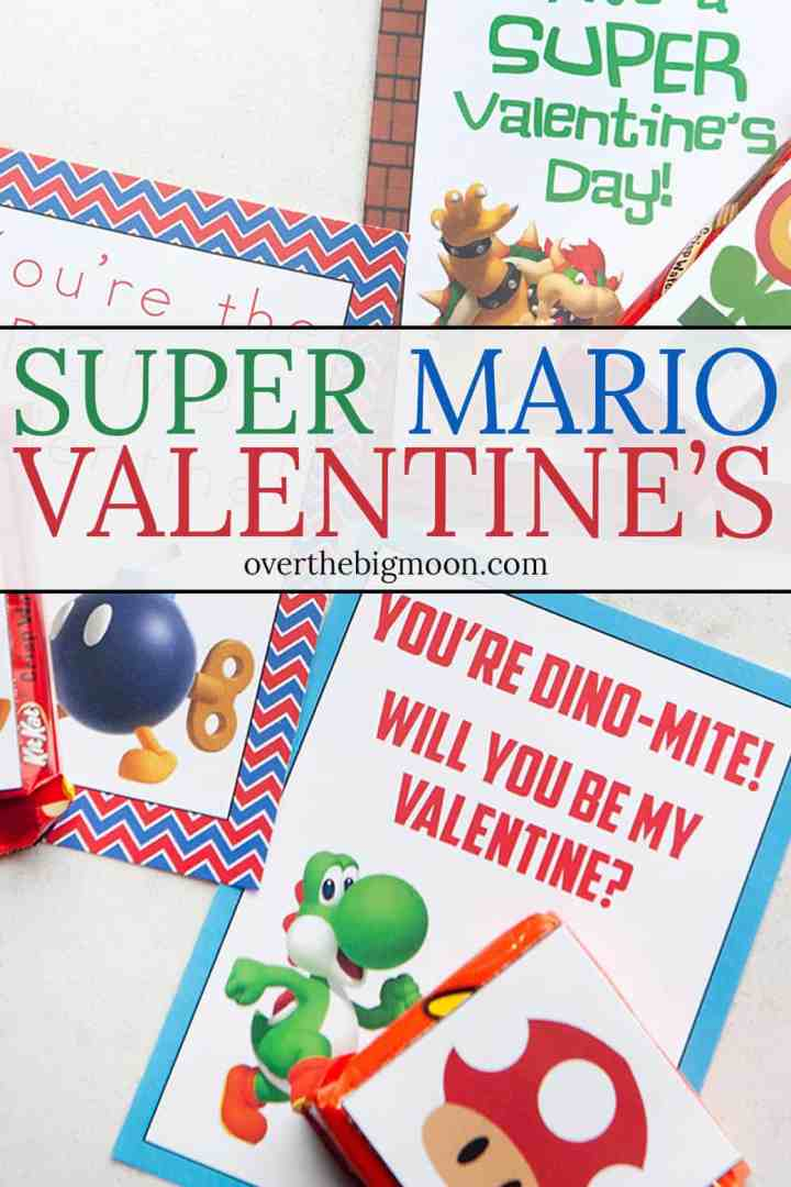 Super cute SUPER MARIO Printable Valentine's + Mini Candy Bar Wrappers! From overthebigmoon.com!