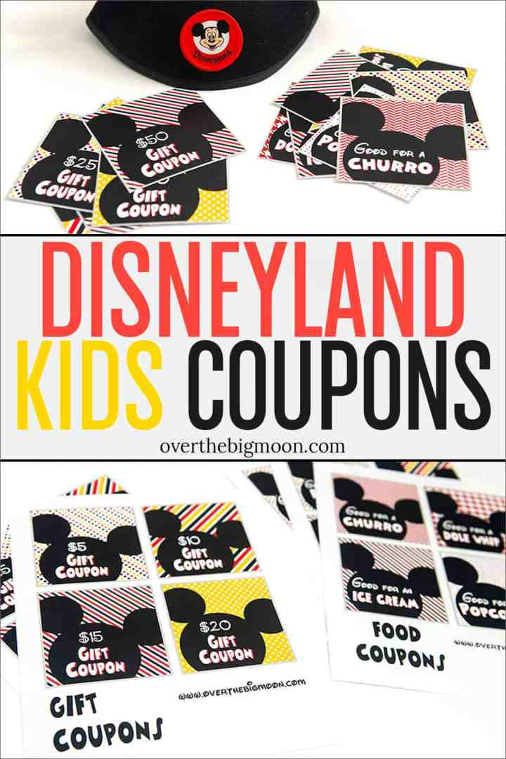 These Printable Disneyland Coupons are the perfect way to help manage your budget at Disney. Give your kids each an envelope of coupons for the day and they can trade them in for treats and gifts! From overthebigmoon.com!