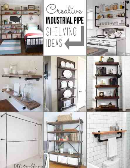Creative Pipe Shelving Ideas on plumbing pipe shelving, pantry pipe shelving, wood and pipe shelving, kitchen butcher block pipe, closet pipe shelving, tv pipe shelving,