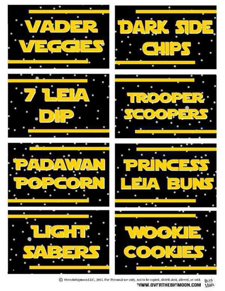 Sample of printable Star Wars Food Pun Labels