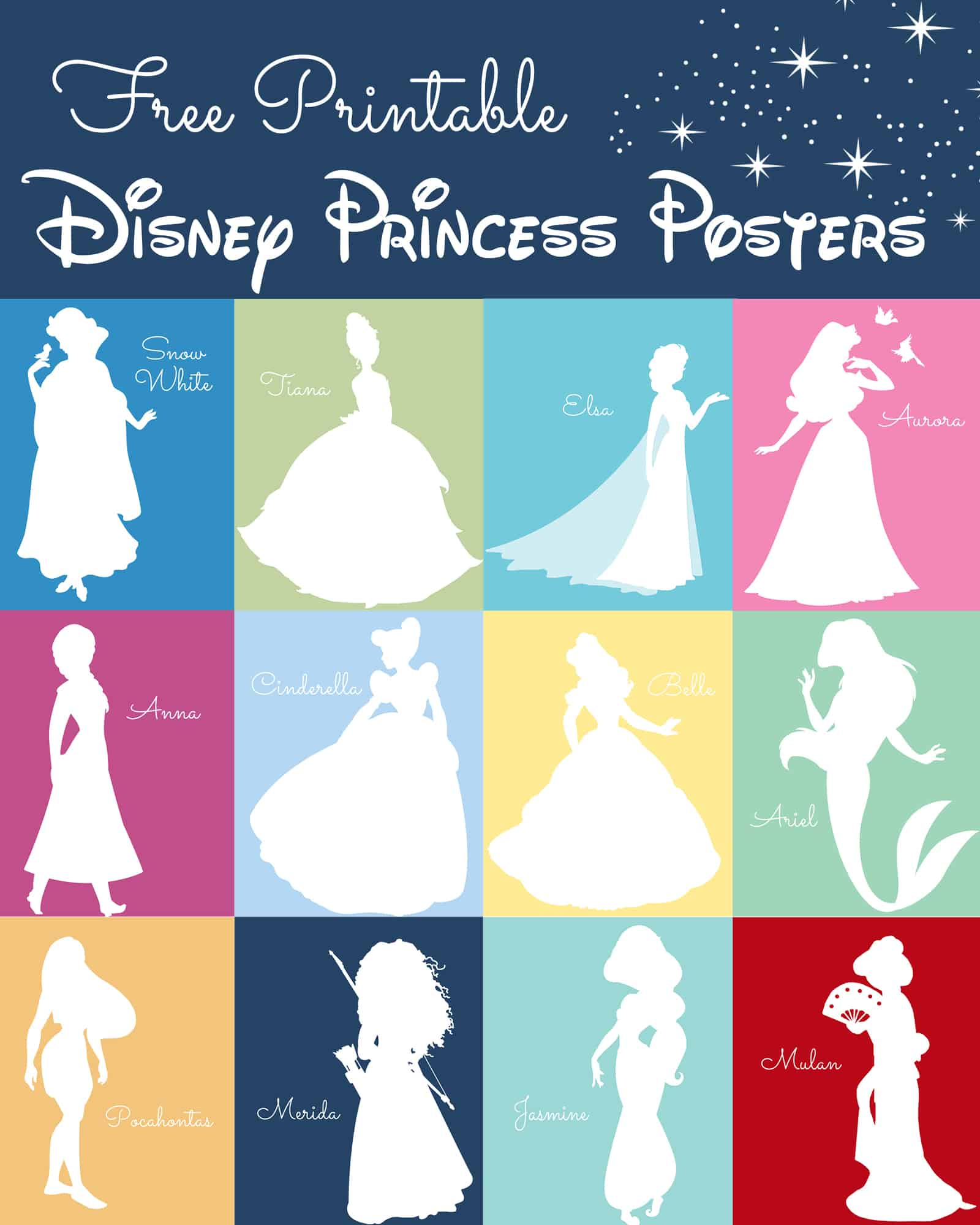 picture about Free Printable Disney Silhouettes known as No cost Disney Princess Silhouette Prints