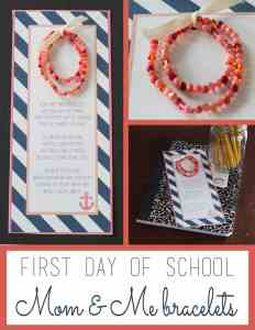 First Day of School Printable Note w/ Poem - attach 2 bracelets to it to make a cute gift! From www.overthebigmoon.com!