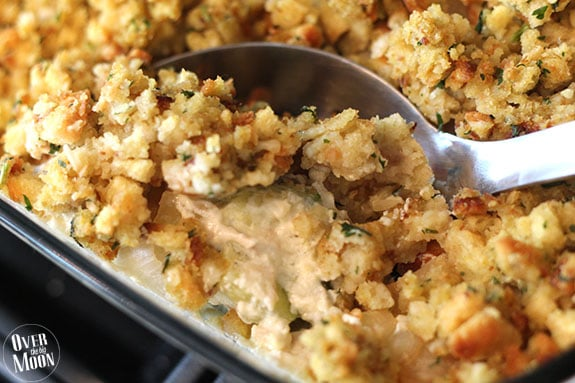 Chicken Zucchini Casserole - an easy and delicious casserole that is perfect during the summer Zucchini months!! From www.overthebigmoon.com!