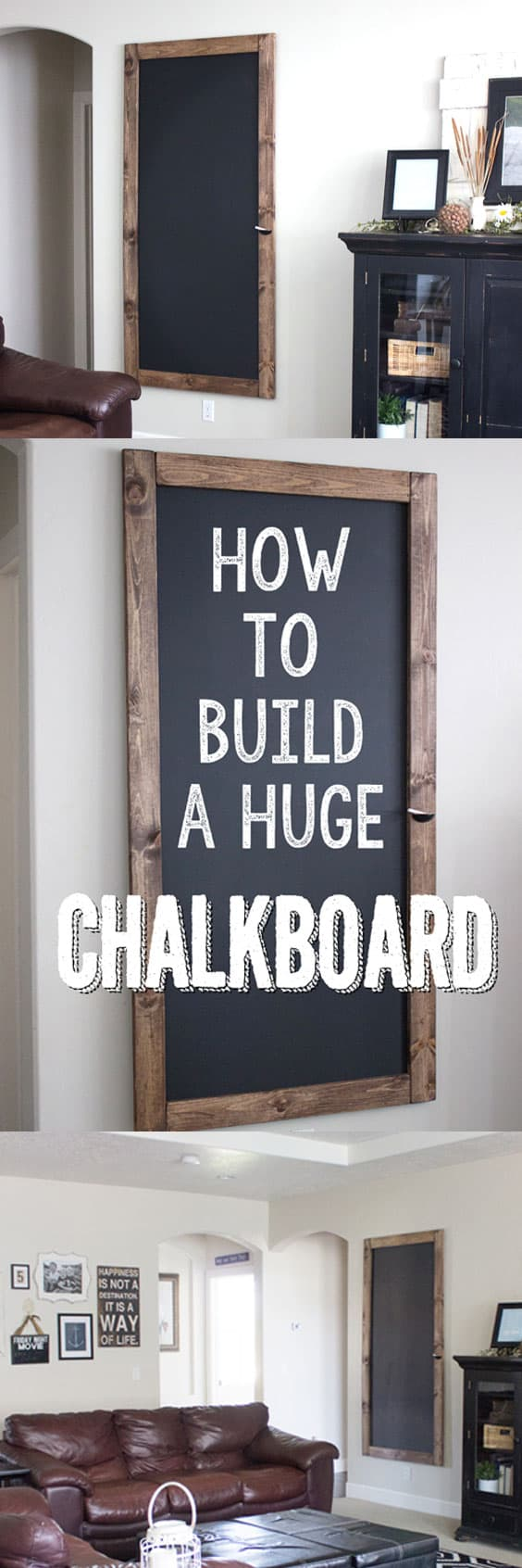 How to Build a Huge Chalkboard for CHEAP! This step-by-step tutorial is so great and makes this tutorial work for DIY's of all levels! From overthebigmoon.com!