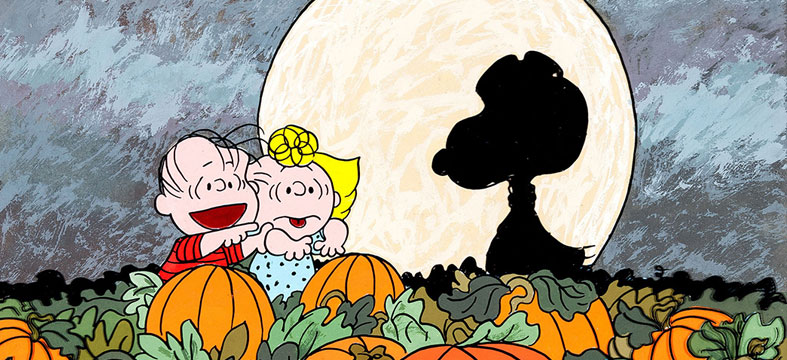 Its the Great Pumpkin Charlie Brown scene - characters in a pumpkin patch.