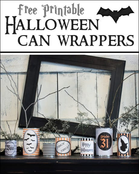 Halloween Can Wrappers - such an easy and fun Halloween Decor! From www.overthebigmoon.com!