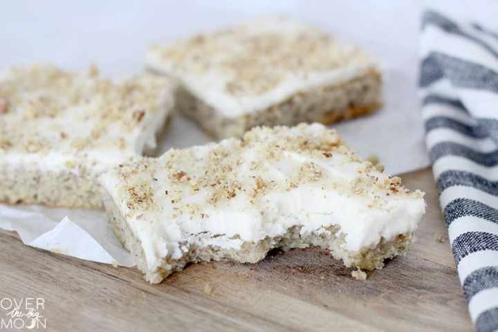 Banana Bars with Cream Cheese Frosting - the perfect treat to make with those brown bananas! From overthebigmoon.com!