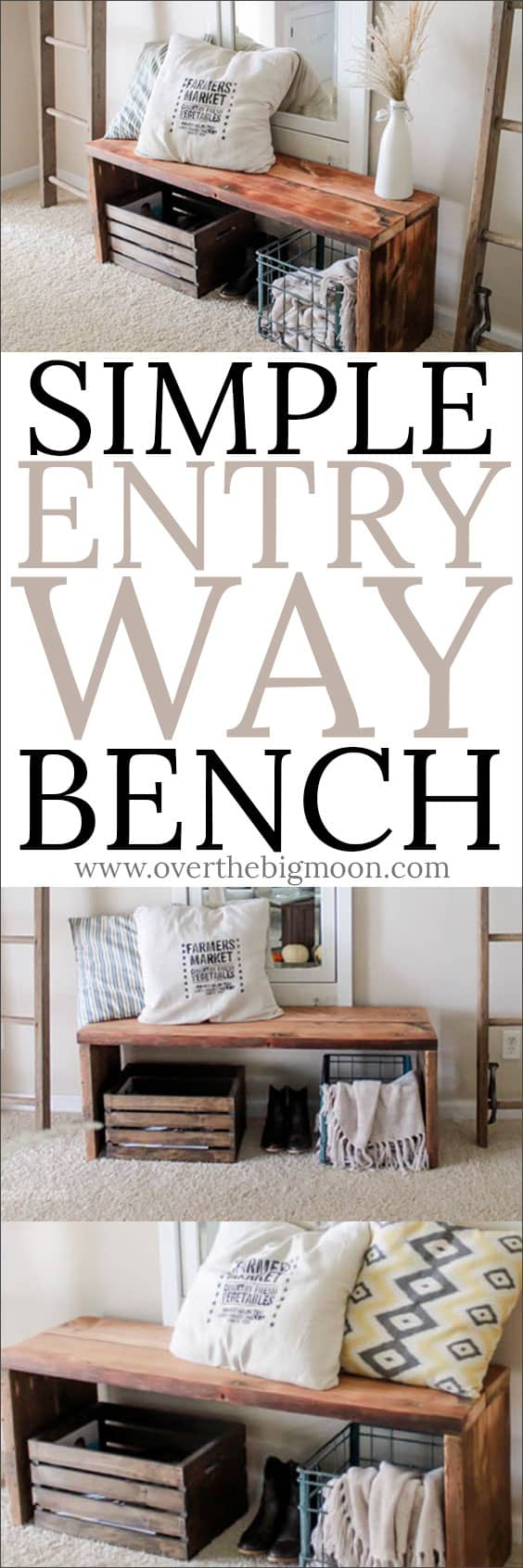 Simple DIY Entry Way Bench - this project is perfect for beginning word workers! Check out the tutorial at overthebigmoon.com!