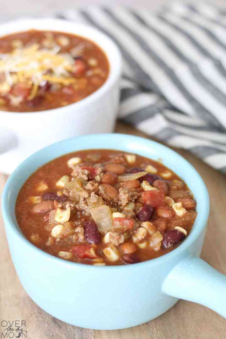 Mexican Taco Soup Recipe that you can make the stove or crockpot! From overthebigmoon.com!