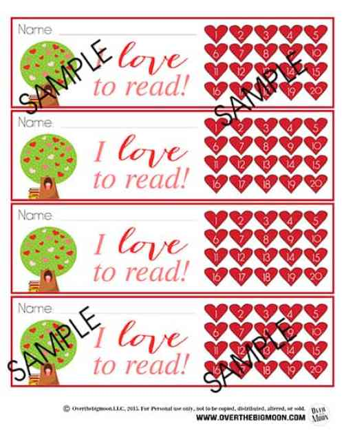 Valentine's Day Bookmark Punchards - these are such a fun way to help encourage reading! From www.overthebigmoon.com!
