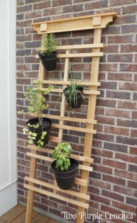 Vertical-Herb-Trellis-Gardening-Two-Purple-Couches