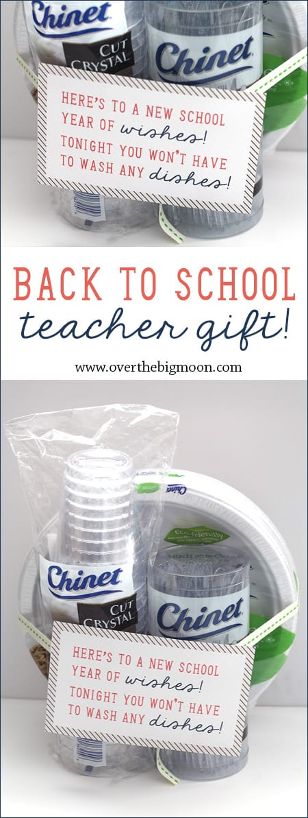 Back to School Teacher Gift Idea - disposable tableware is genius! Teachers are crazy the first week of school! Plus, there is a free printable! | www.overthebigmoon.com