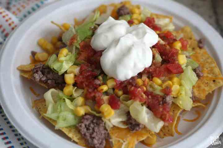 Easy Nacho Bar- this is the perfect lunch for a small group or workplace! Plus, it's easy to prep ahead of time!   www.overthebigmoon.com
