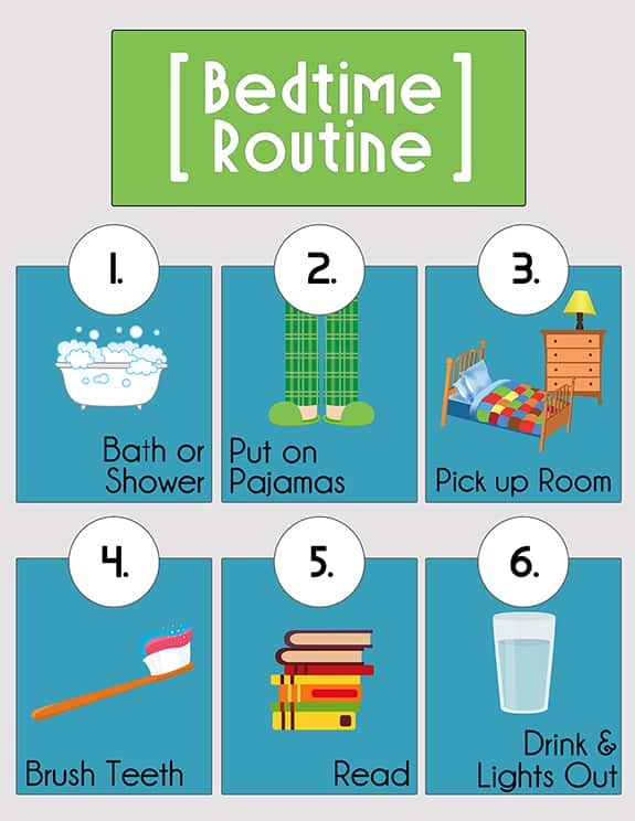 image relating to Bedtime Routine Chart Printable called Bedtime Schedule Printables Around The Huge Moon