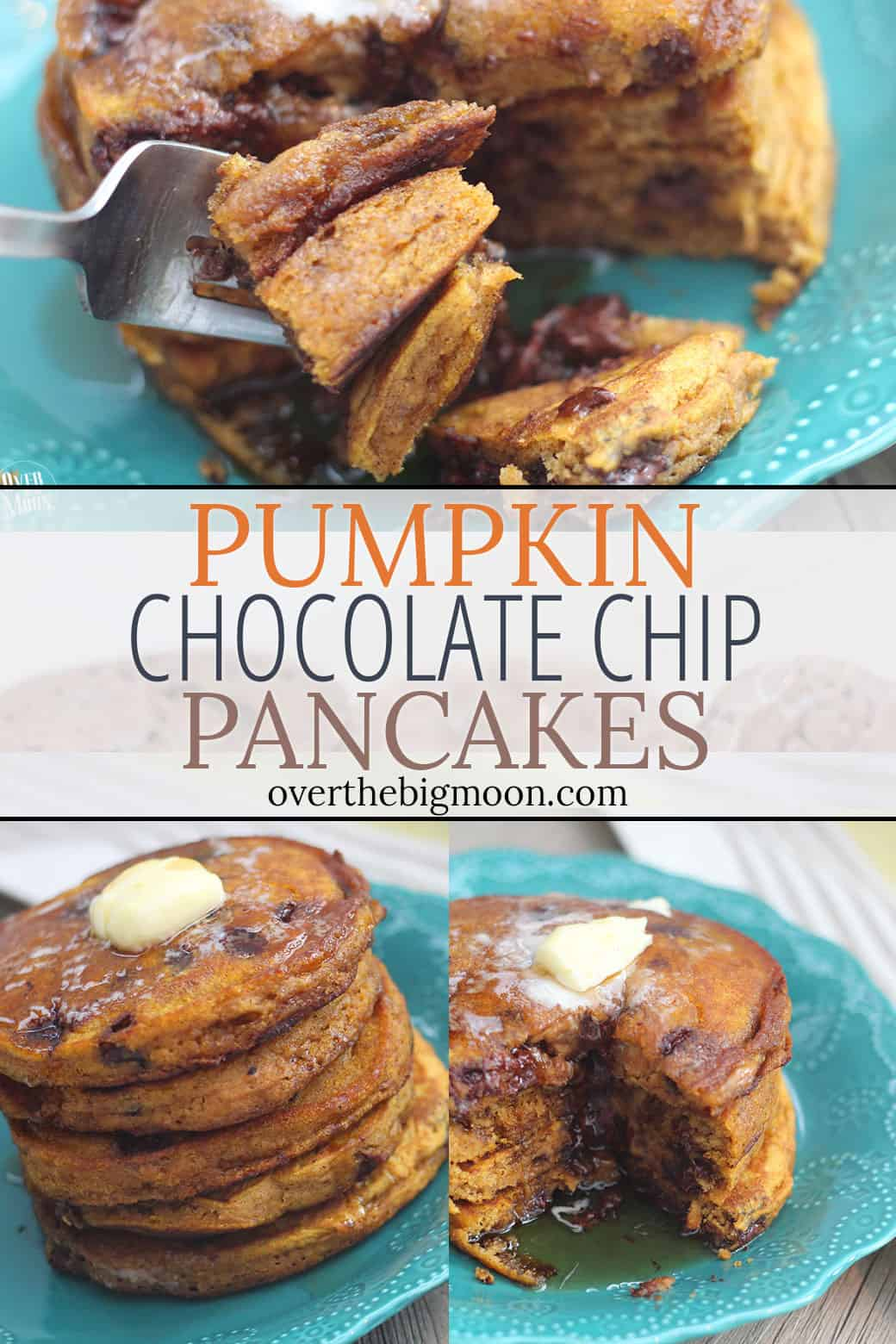 Pumpkin Chocolate Chip Pancakes - the perfect Fall breakfast! From overthebigmoon.com!