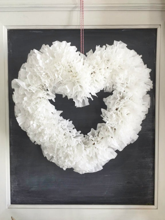 DIY Coffee Filter Valentines Wreath Over The Big Moon