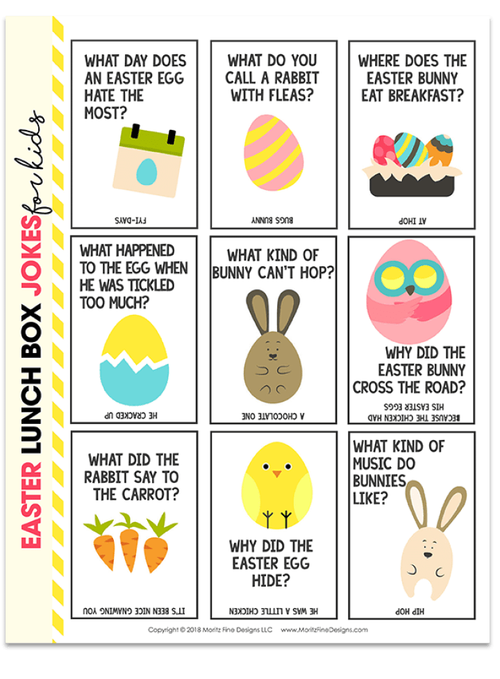 Easter Lunch Box Joke Cards that you can print and add to lunches!