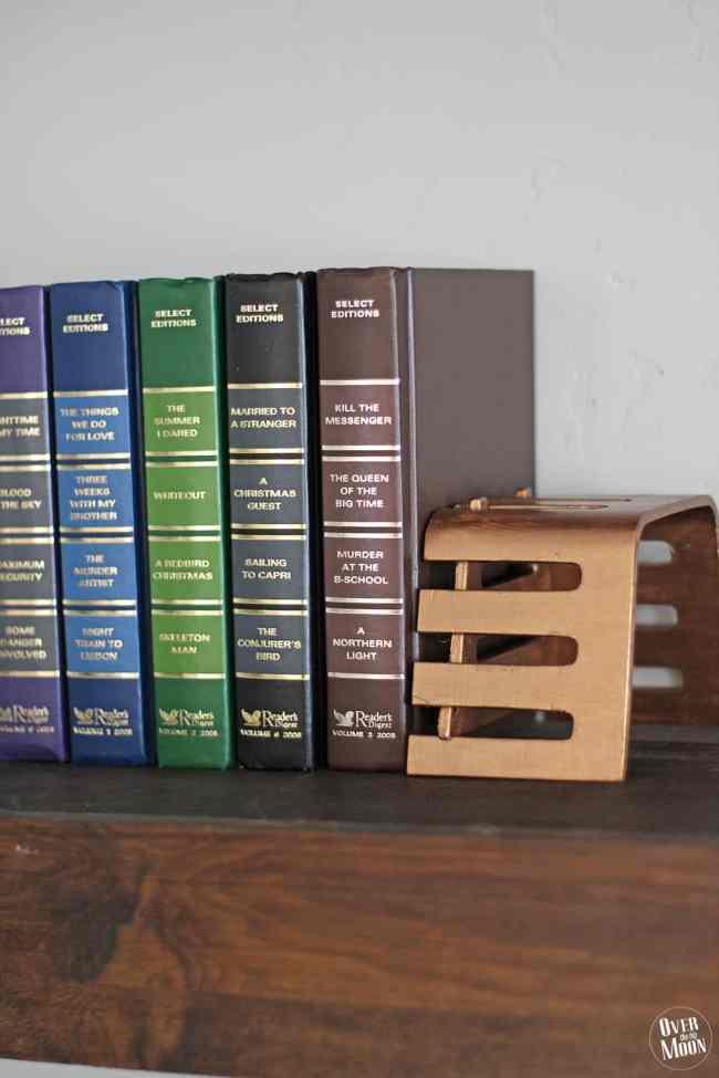 DIY Bronze Bookends using Metallic Paint! From www.overthebigmoon.com!