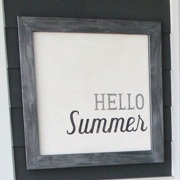 DIY Hello Summer Decorative Board - such an easy DIY using a vinyl stencil! From www.overthebigmoon.com!