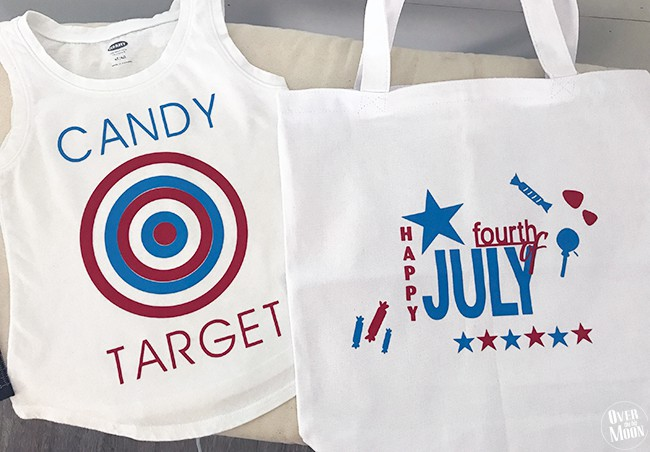 4th of July CANDY TARGET SHIRT and Candy Tote! Such easy DIY's and this shirt is sure to get you WAY more candy at parades! From www.overthebigmoon.com!