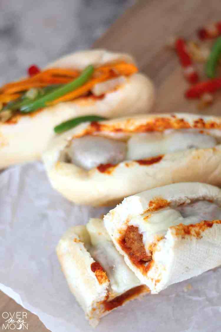 Easy Italian Meatball Sandwiches - these make an easy dinner that the whole family will love in about 25 minutes! From www.overthebigmoon.com