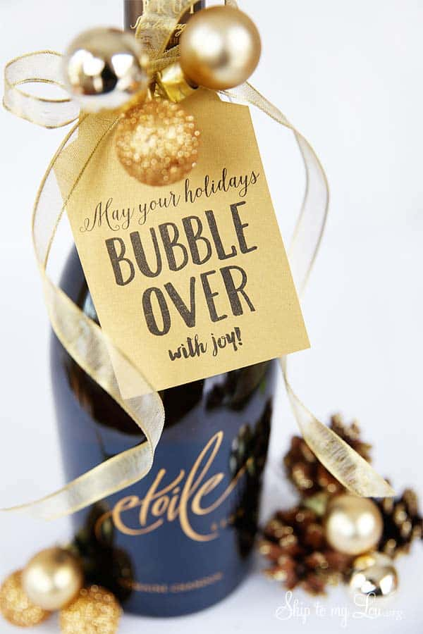 A simple gift tag to go with a bottle of wine for your teacher of friends! From overthebigmoon.com!