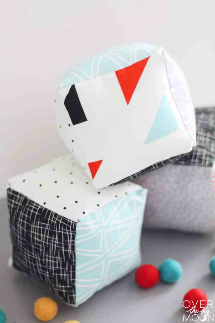 Tutorial to learn How to Sew Baby Soft Blocks - such a great beginning sewing project! From www.overthebigmoon.com!