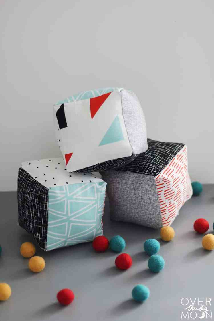 Baby Soft Blocks - such a great DIY and beginning sewing project! From www.overthebigmoon.com