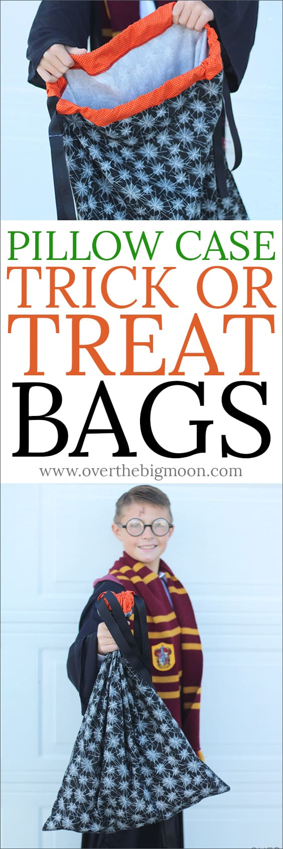 Pillow Case Trick or Treat Bags for kids! The drawstring top won't let them loose any candy! From www.overthebigmoon.com!