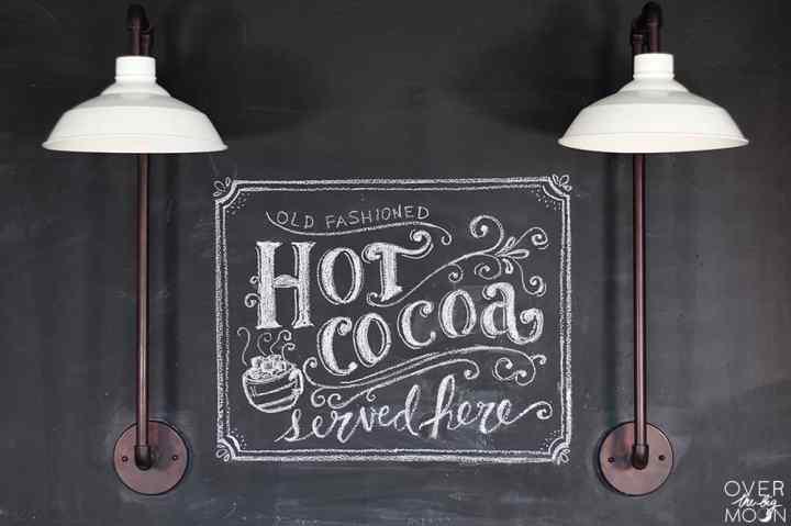 Hand Lettered Chalkboard Art w/ Hot Cocoa Bar | www.overthebigmoon.com!