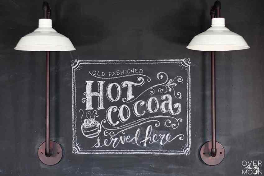 Hand Lettered Chalkboard Art w/ Hot Cocoa Bar   www.overthebigmoon.com!