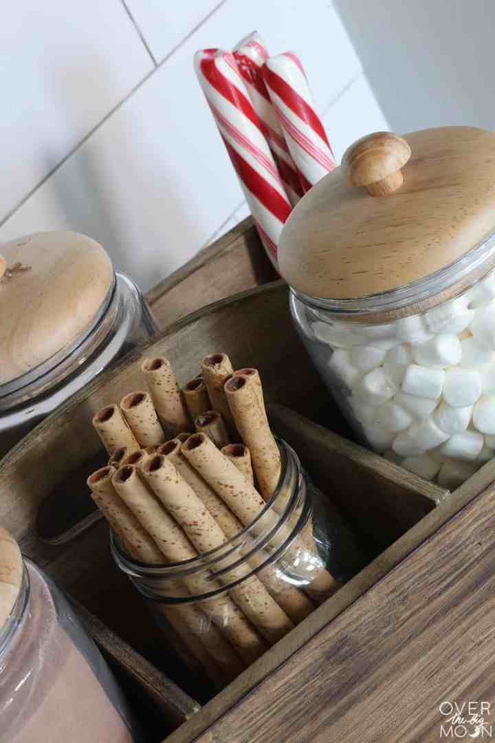 Hot Cocoa Toppings - such great ideas for toppings to serve on a Hot Cocoa Bar! From www.overthebigmoon.com!