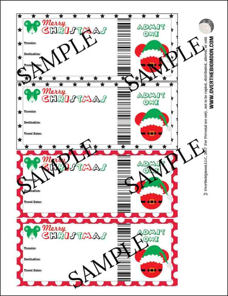 Printable Christmas Disney Tickets from overthebigmoon.com!