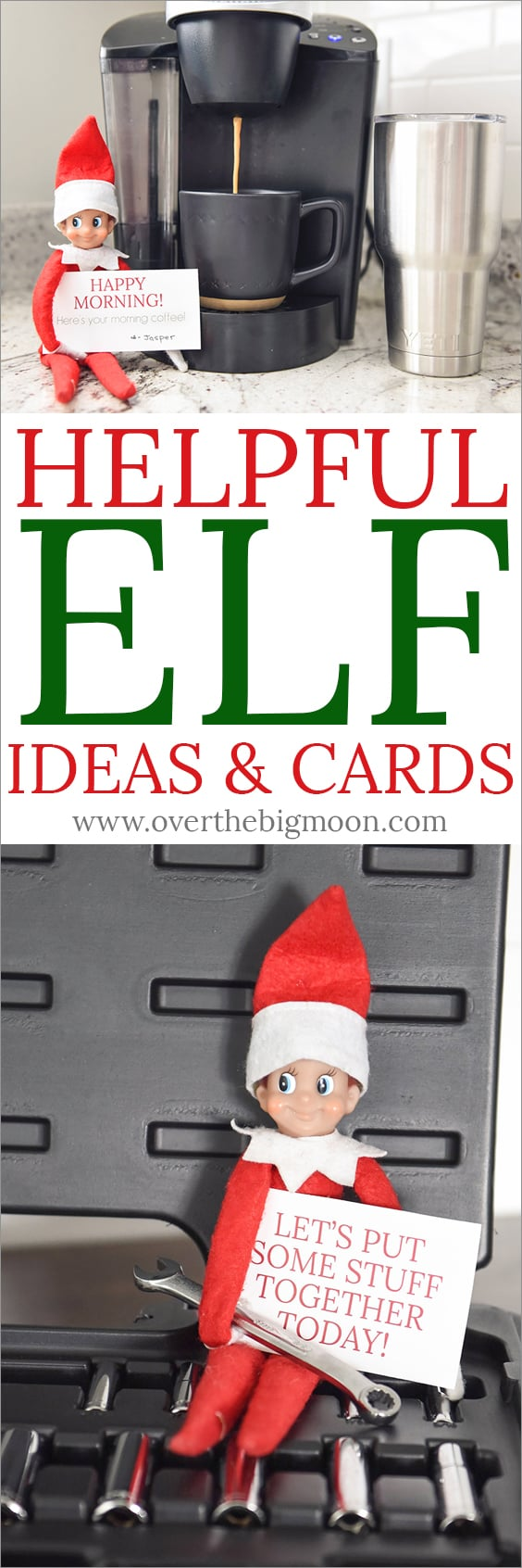 Come see fun ideas for the Helpful Elf and download some printable cards! From overthebigmoon.com!